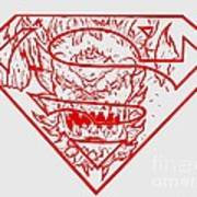 Superman And Doomsday Red Art Print