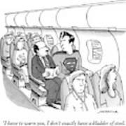 Superman Sits In A Plane Next To A Businessman Art Print