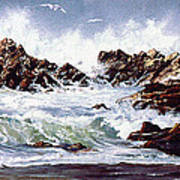 Surf At Lincoln City Art Print