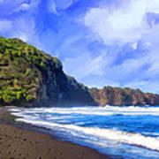 Surf At Pololu Valley Big Island Art Print