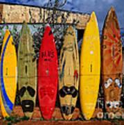 Surf Board Fence Maui Hawaii Art Print