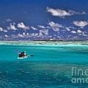 Surf Board Paddling In Moorea Print by David Smith