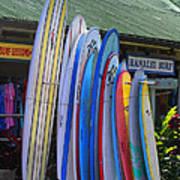 Surfboards At Hanalei Surf Art Print