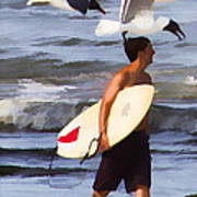 Surfer And The Birds Art Print