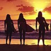 Surfer Girl Silhouettes Art Print