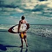 Surfer Walking The Beach Art Print