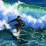 Surfin' Huntington Beach Pier Art Print