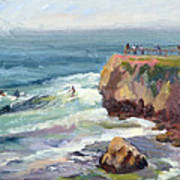 Surfing At Steamers Lane Santa Cruz Art Print