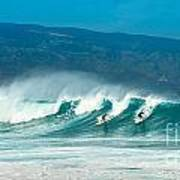 Surfing Duel Art Print
