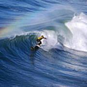 Surfing Under A Rainbow Art Print