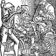 Surgeon Performing An Amputation. Woodcut From An Edition Of Hans Von Gersdoffs Feldtbuch Der Wundartzney, Strassburg, 1540 Art Print