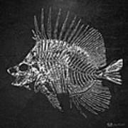 Surgeonfish Skeleton In Silver On Black  Art Print