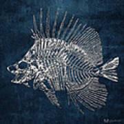 Surgeonfish Skeleton In Silver On Blue  Art Print
