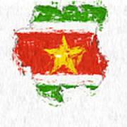 Suriname Painted Flag Map Art Print