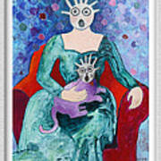 Surprised Woman With Frightened Cat Art Print by Eve Riser Roberts
