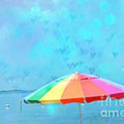 Surreal Blue Summer Beach Ocean Coastal Art - Beach Umbrella  Art Print by Kathy Fornal