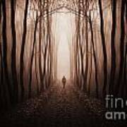 Surreal Dark Forest With Man Walking Trough Trees Art Print