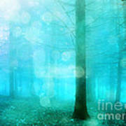 Surreal Dreamy Fantasy Bokeh Aqua Teal Turquoise Woodlands Trees  Art Print