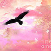 Surreal Dreamy Fantasy Ravens Pink Sky Scene Art Print by Kathy Fornal