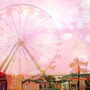 Surreal Dreamy Pink Myrtle Beach Ferris Wheel Print by Kathy Fornal