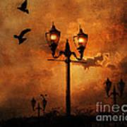 Surreal Fantasy Gothic Night Lanterns Ravens  Art Print