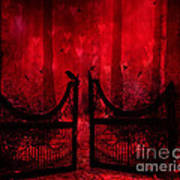 Surreal Fantasy Gothic Red Forest Crow On Gate Art Print