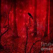 Surreal Fantasy Gothic Red Woodlands Raven Trees Art Print