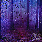 Surreal Fantasy Starry Night Purple Woodlands - Purple Blue Fantasy Nature Fairy Lights  Art Print