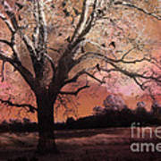Surreal Gothic Fantasy Trees Pink Sky Ravens Art Print by Kathy Fornal