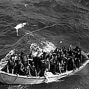 Survivors Of Uss Princeton In Life Boat Art Print