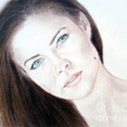 Actress And Model Susan Ward Blue Eyed Beauty With A Mole Art Print
