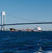 Suspension Bridge Over A Bay Art Print