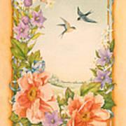 Swallows And Peonies Art Print