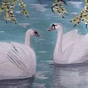 Swans On Pond Art Print by Kat Poon