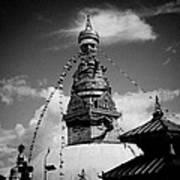 Swayambhunath Temple Black And White Print by Raimond Klavins