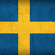 Sweden Flag Vintage Distressed Finish Art Print