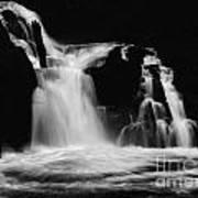 Sweet Creek Falls Oregon Monochrome Art Print