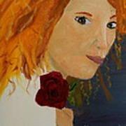 Sweet Lady Holding A Rose Art Print