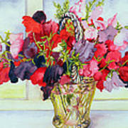 Sweet Peas In A Vase Art Print