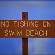 Swim Beach Sign II Art Print