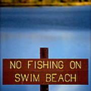 Swim Beach Sign Art Print