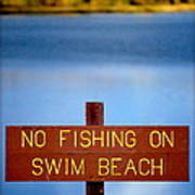 Swim Beach Sign L Art Print