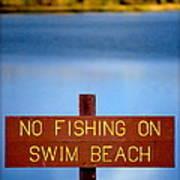 Swim Beach Sign L Art Print