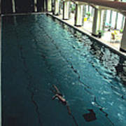 Swimmer In Pool At Banff Lodge Art Print