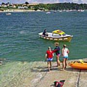Swimmers On The Slipway - St Mawes Art Print