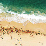 Swimmers Waiting For An Ocean Race To Art Print