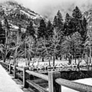 Swinging Bridge In Winter Art Print