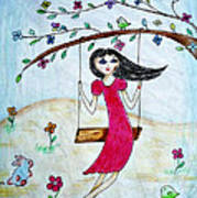 Swinging In A Tree Art Print by Jo Ann