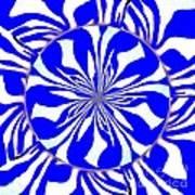 Swirling Blue Zebra Kaleidoscope  Art Print