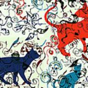Swirls And Pussycats Art Print